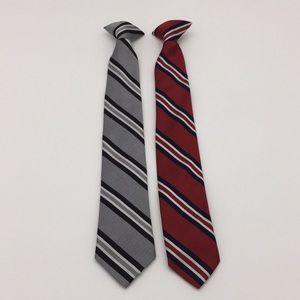 2 Boys Clip On Neck Ties Stripe Dress Wear Suit